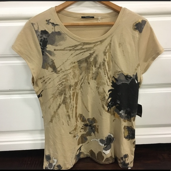 0c43f103d0e NWT TAHARI Ann Knit 100% Cotton T-Shirt Blond Gold